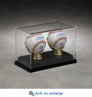 Two Baseball Rectangular Acrylic Display Case with Gold Glove Holders and Formed Base