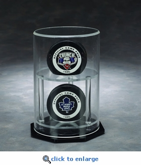 Two Hockey Puck Circular Acrylic Display Case