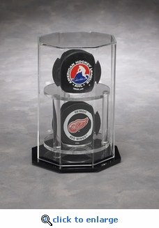 Two Hockey Puck Octagon Acrylic Display Case