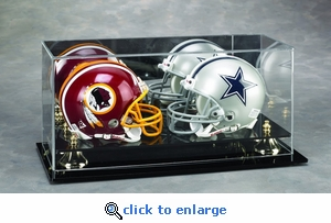Two Football Mini Helmet Rectangular Acrylic Display Case with Gold Risers and Mirrored Back