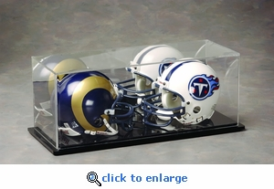 Two Football Mini Helmet Rectangular Acrylic Display Case with Mirrored Back