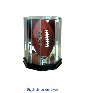 Upright Octagon Football Display Case - Black
