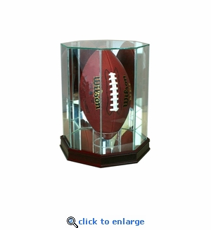 Upright Octagon Football Display Case - Cherry