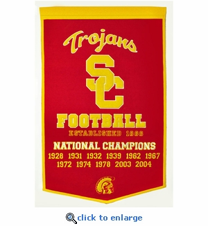 USC Trojans National Champions Dynasty Wool Banner (24 X 36)