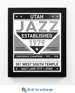 Utah Jazz Black and White Team Sign Print Framed