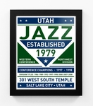 Utah Jazz Dual Tone Team Sign Print Framed