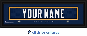 Utah Jazz Personalized Stitched Jersey Nameplate Framed Print