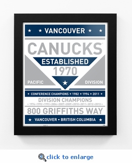 Vancouver Canucks Dual Tone Team Sign Print Framed