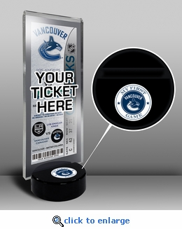Vancouver Canucks My First Game Hockey Puck Ticket Stand