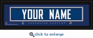Vancouver Canucks Personalized Stitched Jersey Nameplate Framed Print