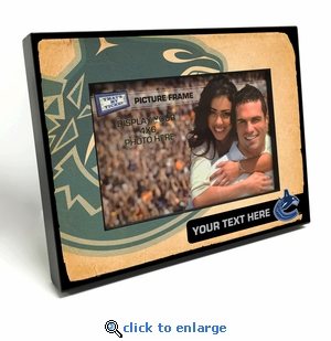 Vancouver Canucks Personalized Vintage Style Black Wood Edge 4x6 inch Picture Frame
