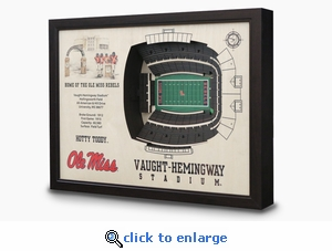 Vaught-Hemingway Stadium 3-D Wall Art - Ole Miss Rebels Football