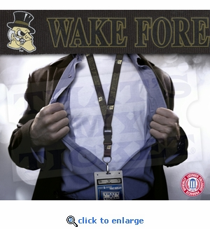 Wake Forest Demon Deacons NCAA Lanyard Key Chain and Ticket Holder - Black