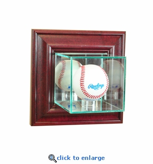 Wall Mounted Baseball Display Case - Cherry