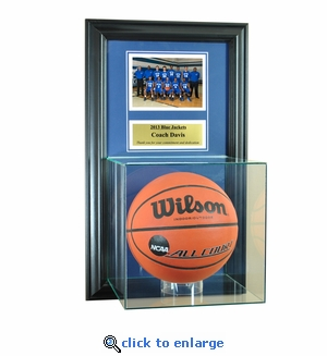 Wall Mounted Basketball Case with 5x7 and Engraving Plate for Individual Award
