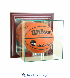 Wall Mounted Basketball Display Case - Cherry