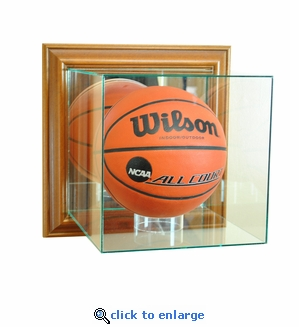 Wall Mounted Basketball Display Case - Walnut