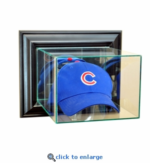 Wall Mounted Baseball Hat / Cap Display Case - Black