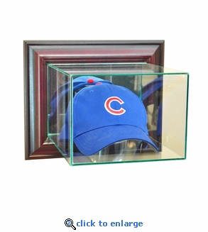Wall Mounted Baseball Hat / Cap Display Case - Cherry