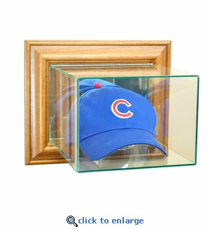 Wall Mounted Baseball Hat / Cap Display Case - Walnut