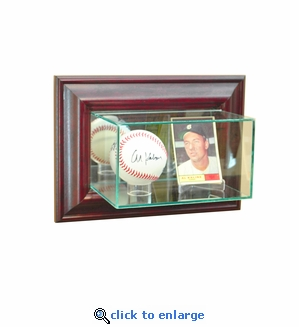 Wall Mounted Card and Baseball Display Case - Cherry