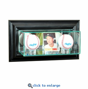 Wall Mounted Card and Double Baseball Display Case - Black