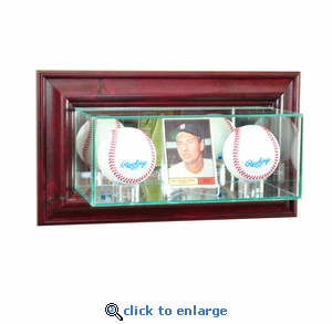 Wall Mounted Card and Double Baseball Display Case - Cherry