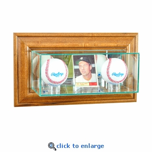 Wall Mounted Card and Double Baseball Display Case - Walnut