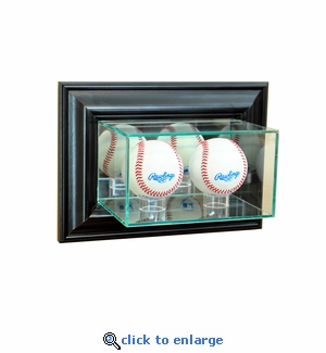 Wall Mounted Double Baseball Display Case - Black