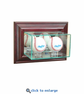 Wall Mounted Double Baseball Display Case - Cherry