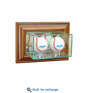 Wall Mounted Double Baseball Display Case - Walnut