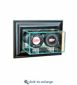 Wall Mounted Double Puck Display Case - Black
