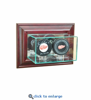 Wall Mounted Double Puck Display Case - Cherry