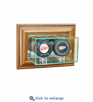Wall Mounted Double Puck Display Case - Walnut