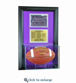 Wall Mounted Football Case with 5x7 and Engraving Plate for Team Award