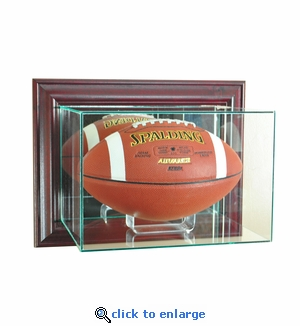 Wall Mounted Football Display Case - Cherry