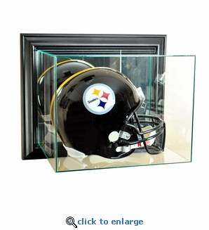 Wall Mounted Football Helmet Display Case - Black