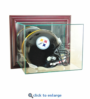 Wall Mounted Football Helmet Display Case - Cherry