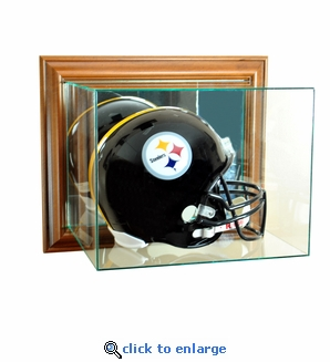 Wall Mounted Football Helmet Display Case - Walnut