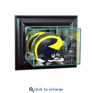 Wall Mounted Football Mini Helmet Display Case - Black