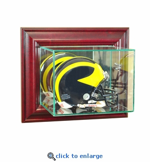 Wall Mounted Football Mini Helmet Display Case - Cherry