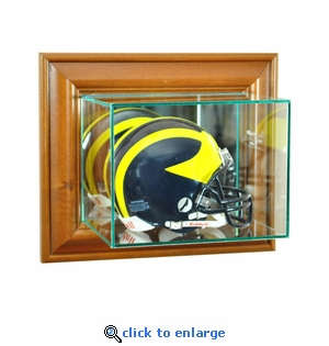 Wall Mounted Football Mini Helmet Display Case - Walnut