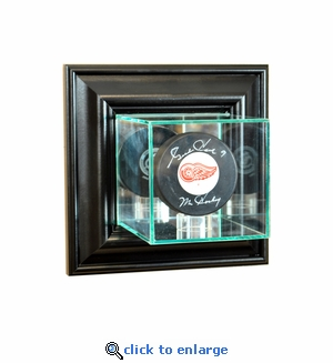 Wall Mounted Single Puck Display Case - Black