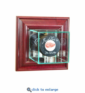 Wall Mounted Single Puck Display Case - Cherry