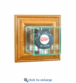 Wall Mounted Single Puck Display Case - Walnut