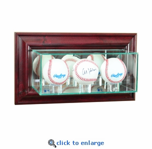 Wall Mounted Triple Baseball Display Case - Cherry