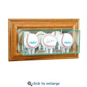 Wall Mounted Triple Baseball Display Case - Walnut