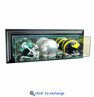 Wall Mounted Triple Mini Football Display Case - Black