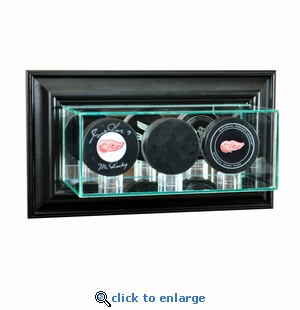 Wall Mounted Triple Puck Display Case - Black