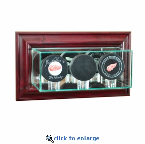 Wall Mounted Triple Puck Display Case - Cherry